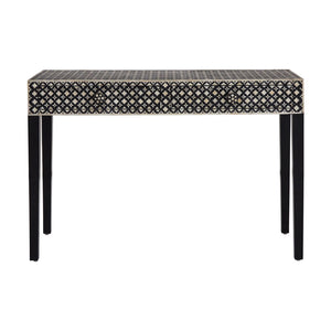 Boho Console Table 2 Drawer Mother of Pearl / Wood on White background