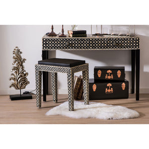 Boho Console Table 2 Drawer Mother of Pearl / Wood in living room