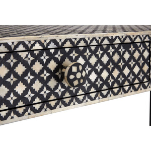 Close up of Boho Console Table 2 Drawer Mother of Pearl / Wood on white background