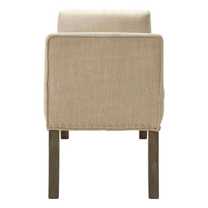 Hampstead Bench Beige/Silver Studs Oak Wood Legs