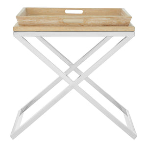 Holland Park Tray Side Table Solid Oak/Stainless Steel