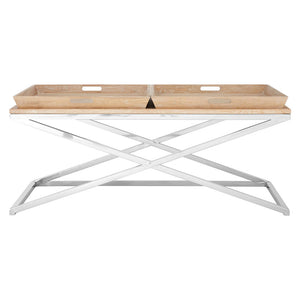 Holland Park Coffee Table Solid Oak Stainless Steel