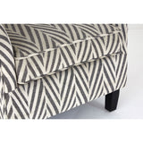 Decadence Chair & Footstool Grey Chevron Fabric Rubberwood Legs