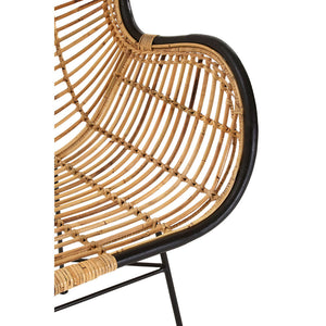 The Nordic Rattan Egg Chair arm close up view