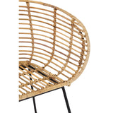 The Nordic Rattan Tub Chair close up of wood and legs