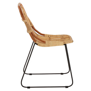 The Nordic Rattan Dining Chair side view