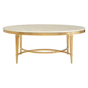 The Luxe Oval Coffee Table White Marble / Gold Frame