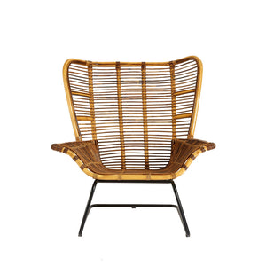 The Nordic Rattan Chair And Footstool front view