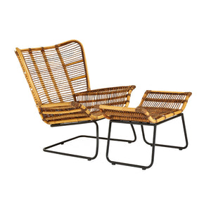The Nordic Rattan Chair And Footstool angle view
