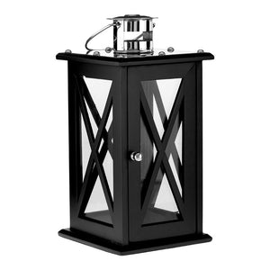 Hampstead Lantern Medium / Black Criss Cross MDF / Stainless Steel