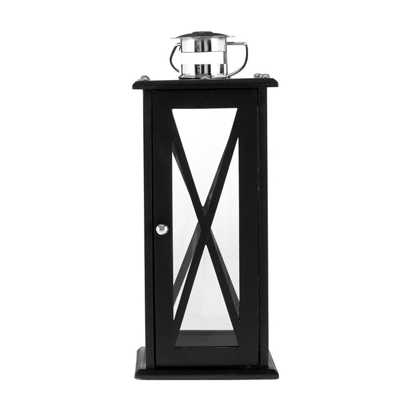 Hampstead Lantern Large / Black Criss Cross MDF / Stainless Steel