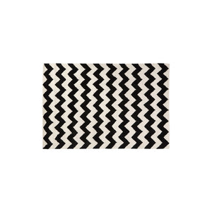 South Beach Rug Black and White Cotton/Wool Hand Tufted W180 x D120 x H2cm