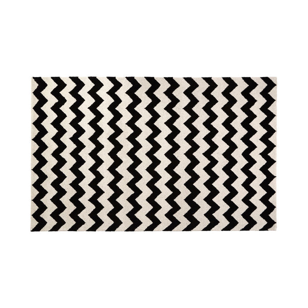 South Beach Rug Black and White Cotton/Wool Hand Tufted W240 x D150 x H2cm