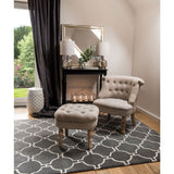 Grey & White Trellis Tufted Rug (Small)