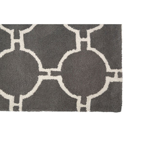 Grey & White Trellis Tufted Rug (Large)