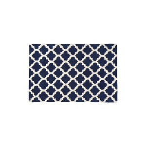 Navy & White Trellis Tufted Rug (Small)