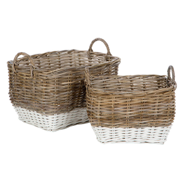 Hampstead Storage Baskets Split Kubu Rattan / Grey White Set of 2
