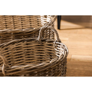 Hampstead Oval Storage Baskets Split Kubu Rattan / Grey White Set of 2