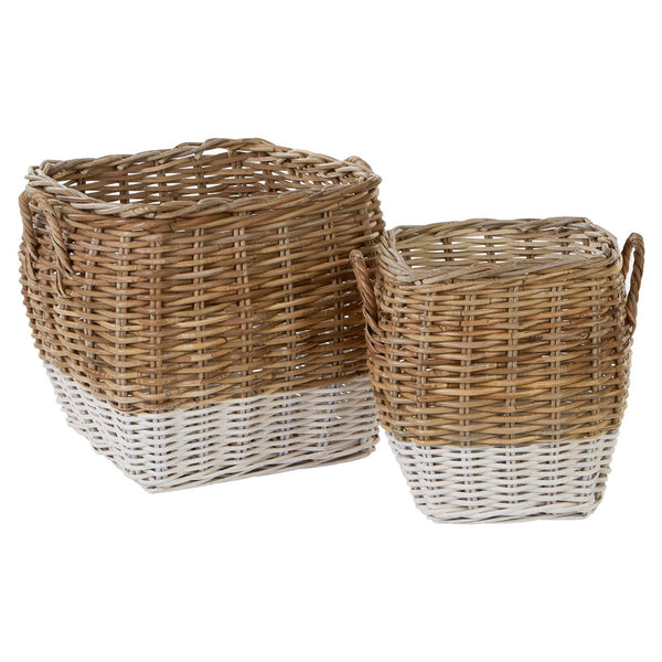 Hampstead Square Storage Baskets Split Kubu Rattan Natural/Grey Set of 2