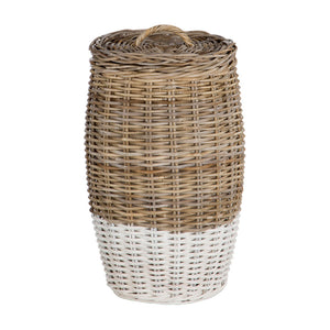 Hampstead Round Laundry Basket Split Kubu Rattan / Grey White