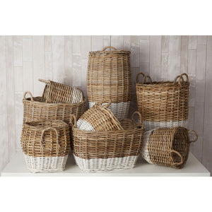 Hampstead Storage Baskets Split Kubu Rattan Natural/Grey Set of 3