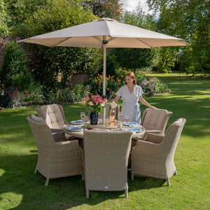 6 Seater Bramblecrest Oakridge Garden Dining set 140cm table main view InsideOut Living