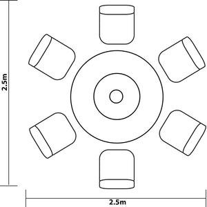 Diagram of 2018 Hartman Appleton 6 Seat Dining Set with Round Table - Light Brown - with dimensions