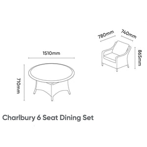 2019 Kettler Charlbury 6 Seat Dining Set dimensions