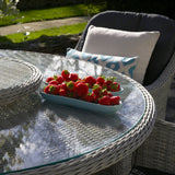 2019 Bramblecrest Monterey 6 Seat Garden Dining Set With 140cm Round Table & Lazy Susan with bowl of strawberries on table