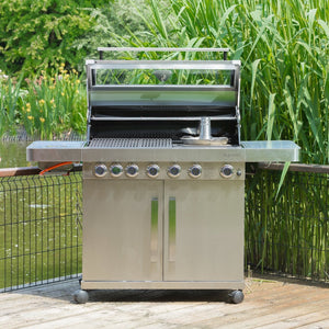 Grillstream Stainless Steel 6 burner gas BBQ on decking
