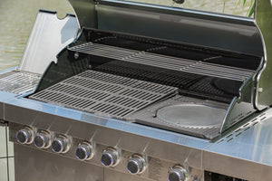 Grillstream Stainless Steel 6 burner gas BBQ showing pizza stone