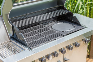 Grillstream Stainless Steel 6 burner gas BBQ close-up of grill