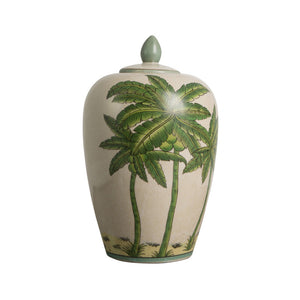 Ceramic palm tree vase with lid side view