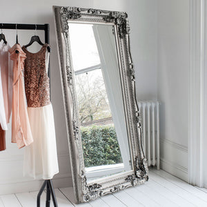 Chateau Leaner Mirror (Silver) in a dressing room
