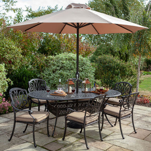 2019 Hartman Amalfi 6 Seat Oval Dining Table Set With Open Solar Parasol