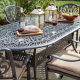 Close Up Of the 2019 Hartman Amalfi 6 Seat Oval Dining Table Set without Solar Parasol