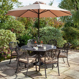 2019 Hartman Amalfi 6 Seat Round Dining Table Set - Bronze/Amber