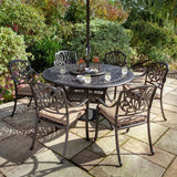 2019 Hartman Amalfi 6 Seat Round Dining Table Set With Open Solar Parasol