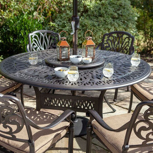 2019 Hartman Amalfi 6 Seat Round Dining Table Set With Open Solar Parasol Close Up