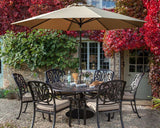 2018 Hartman Amalfi 6 Seat Dining Set with Round Table with Parasol