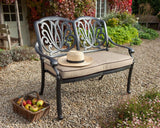 2018 Hartman Amalfi Outdoor Bench & Cushion in a garden