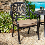 2019 Hartman Amalfi Outdoor Dining Chair With Faux Leather Water Resistant Cushion - Bronze/Amber