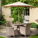 2018 Hartman Appleton 4 Seat Dining Set with Round Table - Light brown - with parasol