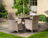 2018 Hartman Appleton 4 Seat Dining Set with Round Table - Light brown - in garden