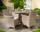 2018 Hartman Appleton 4 Seat Dining Set with Round Table - Light brown - on patio