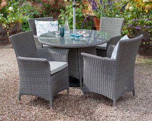 2018 Hartman Appleton 4 Seat Dining Set with Round Table - Dark grey - on chippings