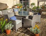 2018 Hartman Appleton 6 Seat Dining Set with Round Table - Dark Grey - with plant pots surrounding
