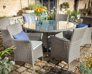 2018 Hartman Appleton 6 Seat Dining Set with Round Table - Dark Grey - on paving