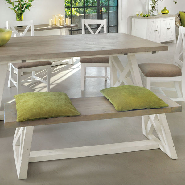 The White and Grey Dining Bench (Large 1.8m)