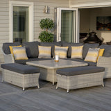 2019 Bramblecrest Monterey Outdoor Sofa Set With Adjustable Square Dining Table on decking in front of house with patio doors open